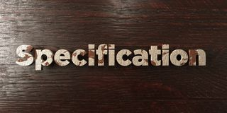 Specification - grungy wooden headline on Maple  - 3D rendered royalty free stock image. This image can be used for an online website banner ad or a print Stock Photo
