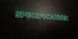 SPECIFICATION -Realistic Neon Sign on Brick Wall background - 3D rendered royalty free stock image. Can be used for online banner ads and direct mailers Stock Photography