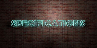 SPECIFICATIONS - fluorescent Neon tube Sign on brickwork - Front view - 3D rendered royalty free stock picture. Can be used for online banner ads and direct Stock Images