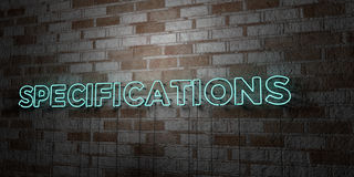 SPECIFICATIONS - Glowing Neon Sign on stonework wall - 3D rendered royalty free stock illustration. Can be used for online banner ads and direct mailers Stock Images