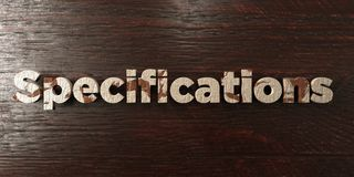 Specifications - grungy wooden headline on Maple  - 3D rendered royalty free stock image. This image can be used for an online website banner ad or a print Stock Images