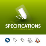 Specifications icon in different style. Specifications color icon, vector symbol in flat, outline and isometric style  on blur background Stock Photos