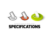 Specifications icon in different style. Specifications icon, vector symbol in flat, outline and isometric style Stock Images