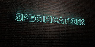 SPECIFICATIONS -Realistic Neon Sign on Brick Wall background - 3D rendered royalty free stock image. Can be used for online banner ads and direct mailers Royalty Free Stock Photo