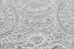 Specificera av bröllopsklänningen Arkivfoton