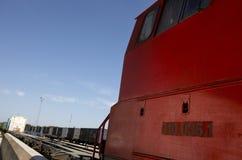 Specificera av drevmotorn på en järnväg posterar Arkivfoton