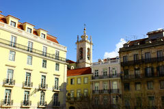 Specificera av en gammal byggnad, Lisbon, Portugal arkivfoto