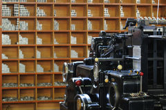 Gammal printingpress Arkivbilder