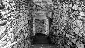 Specificera fängelsehålan av slotten av Santa Cruz i Santa Cruz Galicia, Spanien Royaltyfria Foton