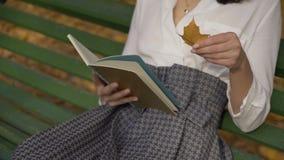 specificera Kvinnliga händer med en bok Flickan på en bänk i hösten parkerar läser en grön bok 4K lager videofilmer