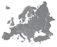 Specificerade politiska översikten för den Europa vektorn gränsar höjdpunkten med regioner Alla beståndsdelar som avskiljs i avta stock illustrationer
