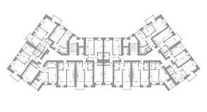Specificerat arkitektoniskt golvplan, lägenhetorientering, ritning vektor stock illustrationer