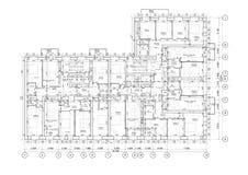 Specificerat arkitektoniskt golvplan, l?genhetorientering, ritning vektor stock illustrationer