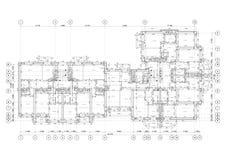 Specificerat arkitektoniskt golvplan, l?genhetorientering, ritning vektor royaltyfri illustrationer
