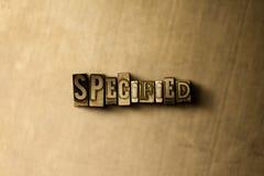 SPECIFICERAT - närbild av det typsatta ordet för grungy tappning på metallbakgrunden Arkivbilder