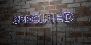 SPECIFIED - Glowing Neon Sign on stonework wall - 3D rendered royalty free stock illustration. Can be used for online banner ads and direct mailers Stock Image