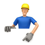 Specify a builder at a blank board below Royalty Free Stock Image