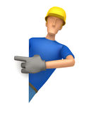 Specify a builder at a blank board on the side Stock Image