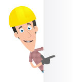Specify a builder at a blank board on the side Royalty Free Stock Photo