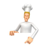 Specify a chef at a blank board below Stock Photography