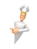 Specify a chef at a blank board on the side Royalty Free Stock Photo