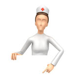 Specify a Nurse at a blank board below Royalty Free Stock Photography