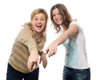 Specifying. The girl and the women specify a finger Royalty Free Stock Photo