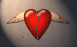 The Specimen. A broken winged heart is pinned to a surface Vector Illustration