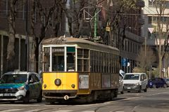 Milan. March 21 2019. An ancient tram in the center of Milan stock images