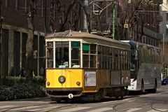 Milan. March 21 2019. An ancient tram in the center of Milan stock photos
