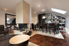 Specious loft apartment interior with fireplace Royalty Free Stock Photos