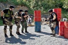 Specjalna jednostka policji w szkoleniu Zdjęcie Stock