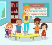 Specjalna klasa niepełnosprawne dzieci E Ilustracja Wektor