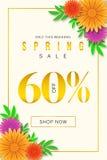 Specjalna wiosny sprzedaży oferta 60% Daleko tylko dla Promocyjnego sztandaru tła z kolorowym kwiatem w ten weekend ilustracja wektor