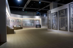 Specjalna wystawa o Han dynastii kamienia cyzelowaniu zdjęcie stock