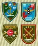 Specjalnej jednostki armia i marynarka wojenna militarne łaty, emblemata wektoru set ilustracji