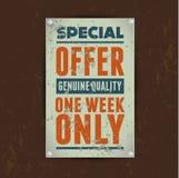 Specjalnej oferty sprzedaży rocznika metalu cyna Zdjęcie Royalty Free