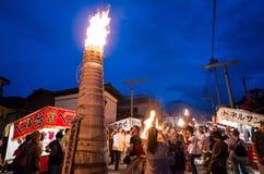Specjalny festiwal - Yoshida pożarniczy festiwal przy Fujisan HongÅ 'S Zdjęcie Stock