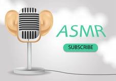 Specjalny mikrofon z białymi ucho dla ASMR odizolowywającego na gradientowym tle z chmurami Realistyczna 3D ilustracja dla royalty ilustracja