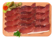 Speck. On a chopping board royalty free stock images