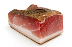 Speck. (juniper-flavored ham originally from Tyrol) on a white background stock images
