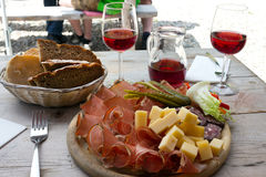 Speck, cheese and bread typical delights served at the alpine huts - - South Tyrol Stock Photography