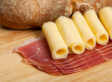 Speck, cheese and bread Royalty Free Stock Photography
