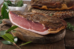 Speck, italian typical salami Stock Images