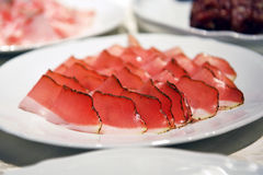 Speck Meat on a plate Royalty Free Stock Photos