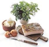 Speck, Zwiebel, Käse und Dill Stockfotografie