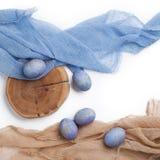 Speckled μπλε αυγά Πάσχας Στοκ Εικόνες