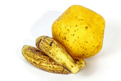 Speckled Bananas Alongside Ripe Yellow Paw Paw Royalty Free Stock Photography