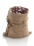 Speckled beans in a burlap bag Stock Image