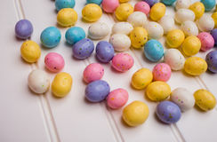 Speckled Easter Eggs. Collection of colorful-tasty speckled Easter treats Stock Images